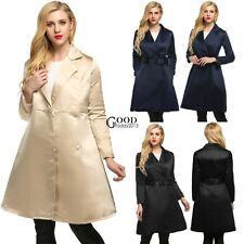 Notched Collar High Waist Women Long Swing Trench Coat with Belt Cocktail TXGT