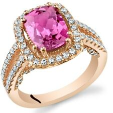 Created Pink Sapphire Rose Halo Ring Sterling Silver 2.75 Carats Size 5 to 9