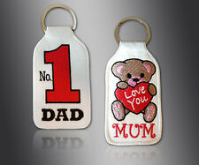 BRAND NEW EMBROIDERY KEY RING NO 1 DAD - LOVE YOU MUM WITH HEART & TEDDY KEYRING