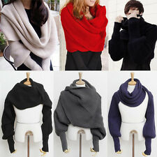 Women's Mens Winter Warm Soft Knitting Wool Scarf With Sleeve Wrap Shawl Scarves