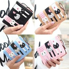 Fashion Women's PU Leather Cute Cat Coin Wallet Card Holder Handbag Clutch Purse
