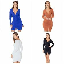 Sexy Women Deep V-Neck Slit Slim Bodycon Evening Cocktail Party Mini Dress S-L