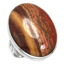925 Solid Sterling Silver Unique Ring Natural Red Creek Jasper Size 11 zc65921