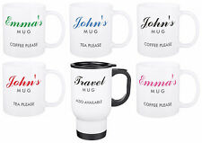 YOUR NAME ON A MUG personalised ceramic or travel mugs custom printed gift boxed