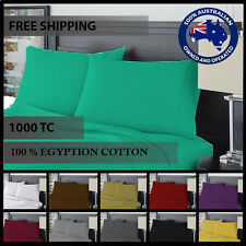 1000TC EGYPTIAN COTTON SHEET SET QUEEN KING SIZE 4 PIECE FITTED FLAT PILLOWCASE