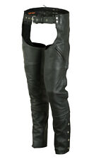 New Unisex Motorcycle Soft Milled Cowhide Black Leather Chaps With Deep Pockets