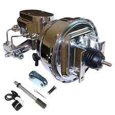 """55-57 Chevy 8"""" Dual Disc/Drum Power Booster + Master Cylinder & Brackets CHROME"""