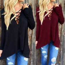 Women Loose Long Sleeve V-Neck T-Shirt Lace Up Top Hooded Jumper Pullover Blouse