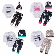Stylish Infant Baby Boy Girl Outfits Clothes Romper Pants Leggings 3PCS Set