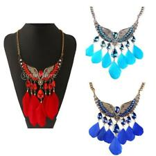 3 Color Feather Beaded Ethnic African Style Bohemian Tribal Chic Choker Necklace