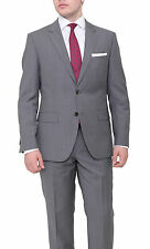Hugo Boss The Grand/central Slim Fit Gray Pinstriped Wool Suit Made In Usa
