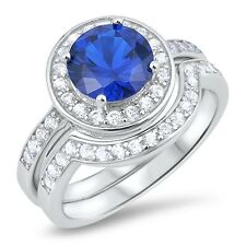 Sterling Silver 925 BRIDAL WEDDING SET ROUND BLUE SAPPHIRE CZ RING SIZES 5-10