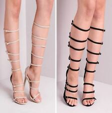 Womens Knee High Mulit Strap Buckled Suede Heeled Gladiator Sandals Strappy Shoe