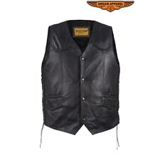 Mens Motorcycle Soft Genuine Leather Vest With 4 Snaps and Multi Pockets