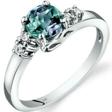 14K White Gold Created Alexandrite Diamond Solstice Ring 1.00 Cts Sizes 5-9