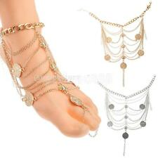 Charm Multilayer Coin Tassel Anklet Bracelet Chain Fashion Jewelry