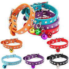 Adjustable Reflective Collar Necklace Bell Pet Dog Cat Puppy Safety PU leather