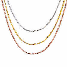 """18kt Gold Plated Diamond Cut Snake Chain Design Unisex 1.5 mm 19"""" Chain Necklace"""