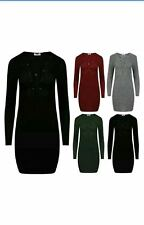 New Womans Ribbed Knit V- Neck Lace Front Tie Up  Bodycon Dress