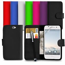 Premium Leather Wallet Case Cover For HTC ONE A9 Screen Protector Big Stylus