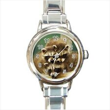 Cute Baby Raccoons Italian Charm Watch (Battery Included)
