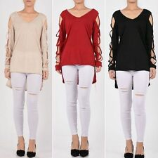Womens Sexy Deep V Long Sleeve Shirts Casual Blouse Loose Irregular Tops T Shirt