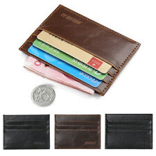 Men Crazy Horse Leather Slim Credit ID Card Holder Wallet Case Purse Bag Pouch~