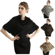 Women Real Rabbit Fur Shawl Poncho Cape Scarf Outerwear Knitted Fashion one size
