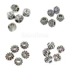 5Pcs Crystal Flower Spacer Dangle Bead Fit Charms European Bracelets Silver