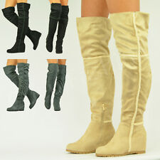 NEW WOMENS OVER THE KNEE BOOTS LADIES LOW FLAT HEEL FUR TRIM WINTER SHOES SIZES