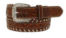 Ariat Western Mens Belt Leather Floral Embossed Laced Edge Brown A1027408