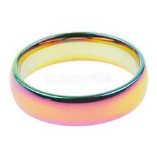 Hematite Titanium Steel Rainbow Colorful Rings Engagement Wedding Band Jewelry