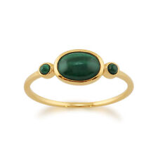 Gold Plated Sterling Silver 0.60ct Malachite Cabochon Ring