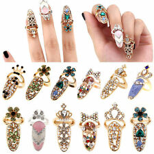 Women Bowknot Crown Crystal Finger Nail Art Ring Jewelry Nail Finger Ring