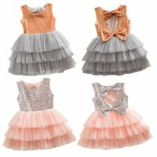 Girl Kids Baby Sweet Sequined Bow Party Pageant Tulle Wedding Tutu Cake Dress