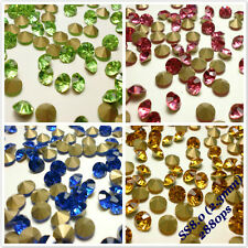 SS8.0 (2.3mm) Point back Rhinestones Crystal Glass Strass Chaton Nail Art 2880ps