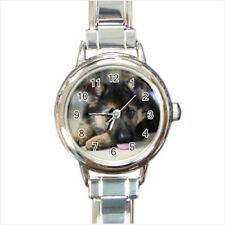 German Shepard Puppy Dog Italian Charm Watch (Battery Included)