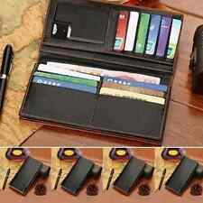 Men's Long Leather Wallet Pockets Coin Purse ID Credit Card Clutch Bifold Black