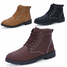 MENS CASUAL LACE ANKLE MARTIN BOOTS WINTER WARM BOOTS FASHION HIGH-TOP SHOES