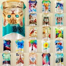Women Ladies Short Sleeve Printed Loose Printing Bat Blouse T-shirt Tops Clothes