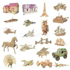 DIY 3D Assembly Wooden Puzzles Young Boys Girls Jigsaw Toys Set Christmas Gift