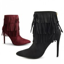 Womens Ladies Fringe Tassel Boots Stilletto High Heels Pointed Toe Ankle Boots
