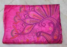 PEACOCK DGN KANHTA QUILT EMBROIDERY INDIAN BRIDAL PURE SILK WEDDING SAREE 5Y