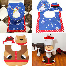 Christmas Decorations Snowman Happy Santa Toilet Seat Cover and Rug Bathroom Set