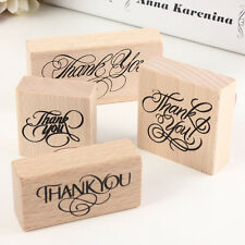 Natural Vintage Thank You Wooden Rubber Stamp Craft Wedding Party 4 Styles  R