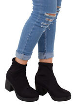 Womens Ladies Pull On Heeled Synthetic Black Chunky Stretch Ankle Boots UK 3-8
