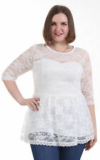 BBW Summer Sleeves Gorgeous A Line Casual Tee Blouse Lace Tops Plus Size 1X-5X