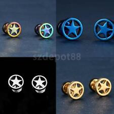 Unisex Women Men Punk Stainless Steel Circle Five-pointed Star Earrings Stud