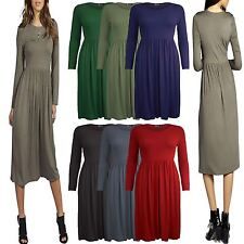 Womens Ladies Franki Long Sleeves Swing Flared Midi Skater Dress Top Plus Size