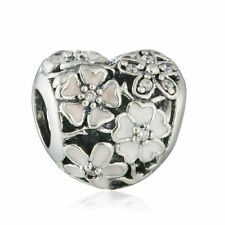 2016 New Mixed Enamel Poetic Blooms Heart Charm Real silver Jewelry